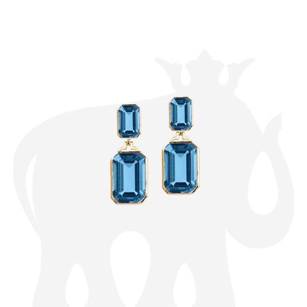 London Blue Topaz Double Emerald Cut Earrings