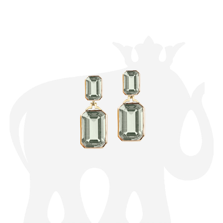 Prasiolite Double Emerald Cut Earrings