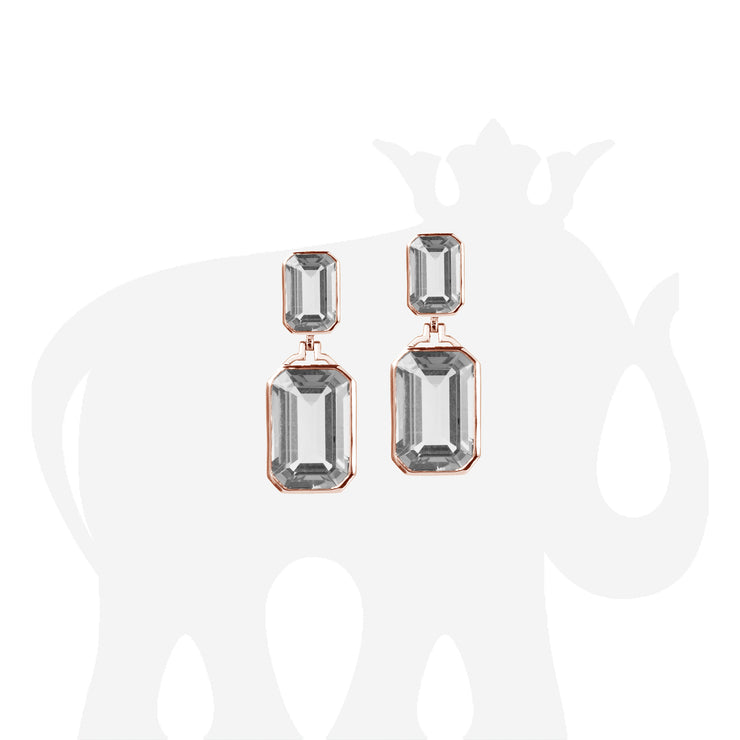 Rock Crystal Double Emerald Cut Earrings