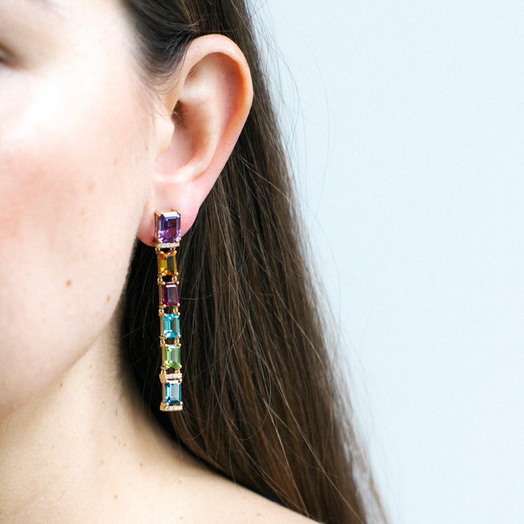Multi Color Emerald Cut Long Earrings With Diamonds