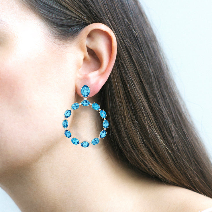 Apatite Oval Hoop Earrings with Diamonds