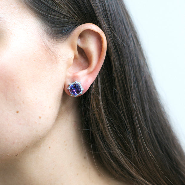 Amethyst & Diamond Octagon Studs