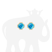 Blue Topaz  & Diamond Octagon Studs