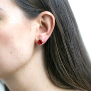 Garnet & Diamond Octagon Studs