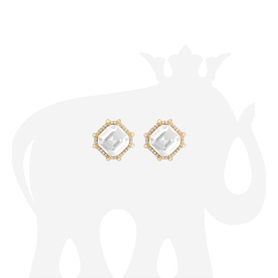 Moon Quartz & Diamond Octagon Studs