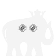 Rock Crystal & Diamond Octagon Studs