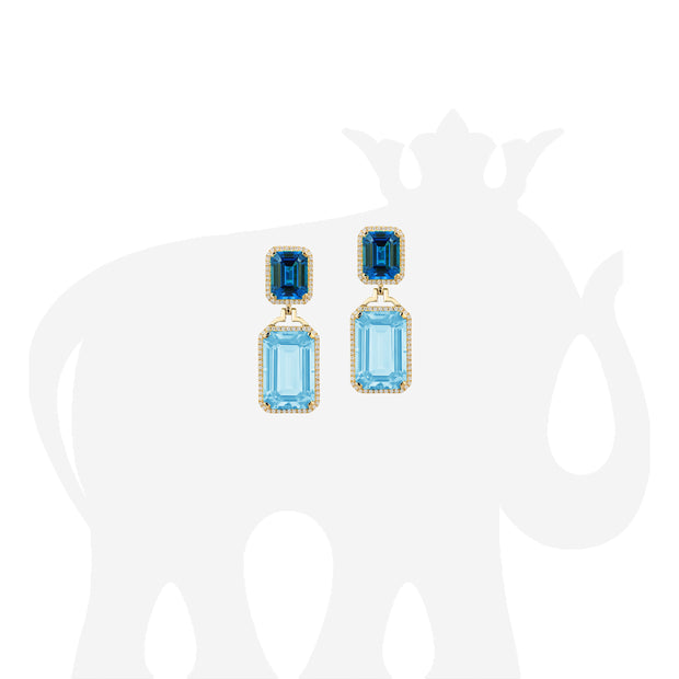 Blue Topaz & London Blue Topaz Emerald Cut Earrings