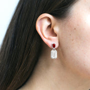 Moon Quartz & Garnet Emerald Cut Earrings