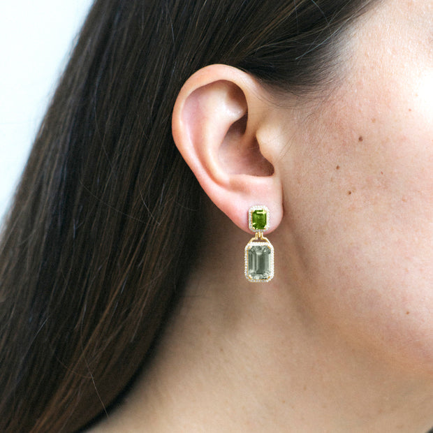 Prasiolite & Peridot Emerald Cut Earrings