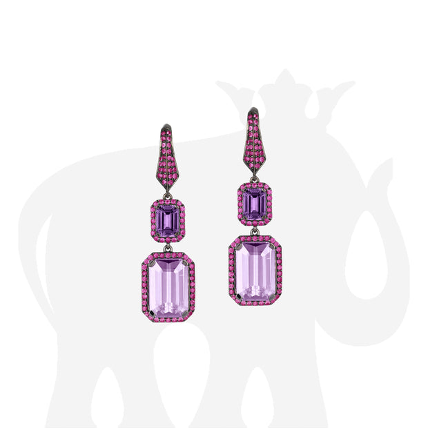 Amethyst, Lavender Amethyst and Pink Sapphire Earrings
