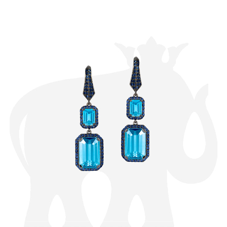Blue Topaz And Sapphire Earrings