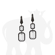 Moon Quartz Earrings With Black Diamonds