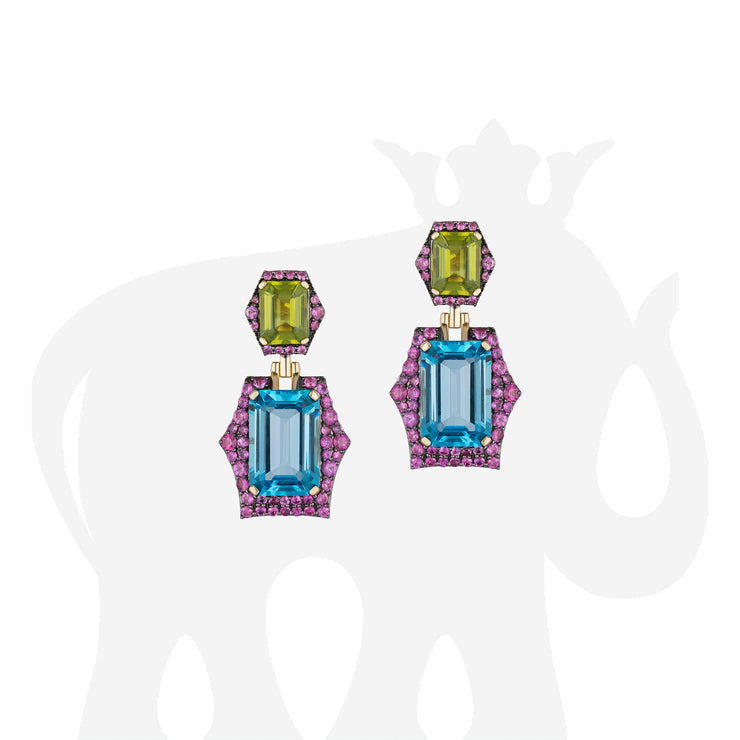 Blue Topaz & Peridot Earrings with Pink Sapphire