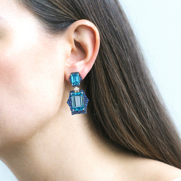 Blue Topaz and Blue Sapphire Earrings