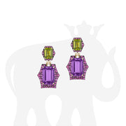 Amethyst, Peridot And Pink Sapphire Earrings