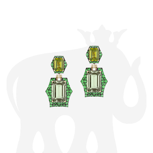 Prasiolite, Peridot and Tsavorite Earrings