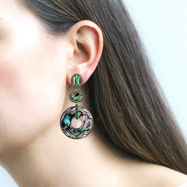 Abalone Double Oval Earrings
