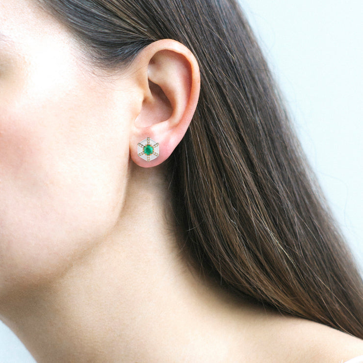 Hexagon Shape White Enamel Stud Earrings with Emerald and Diamonds