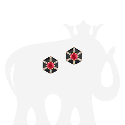 Hexagon Shape Black Enamel Stud Earrings with Ruby and Diamonds
