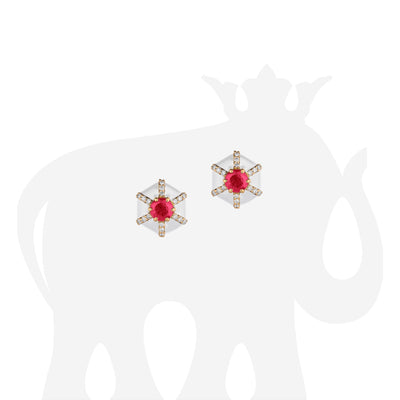 Hexagon Shape White Enamel Stud Earrings with Ruby and Diamonds