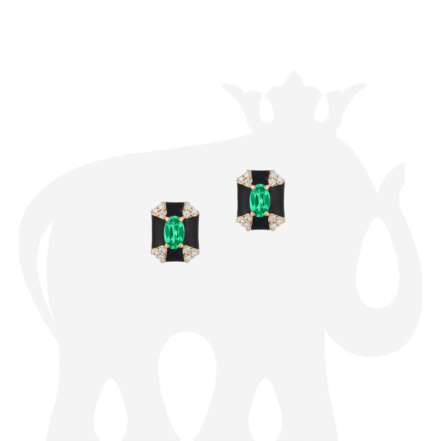 Octagon Shape Black Enamel Stud Earrings with Emerald and Diamonds