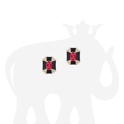Octagon Shape Black Enamel Stud Earrings with Ruby and Diamonds