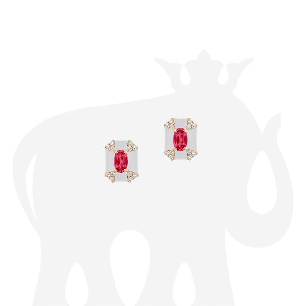 Octagon Shape White Enamel Stud Earrings with Ruby and Diamonds