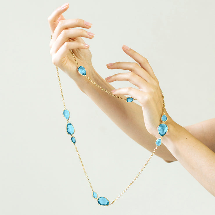 Blue Topaz Briolette Station Necklace
