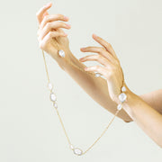 Moon Quartz Briolette Station Necklace