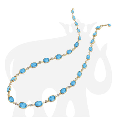 Faceted Oval Blue Topaz Necklace