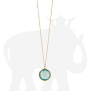 Blue Topaz Round Rose Cut Pendant