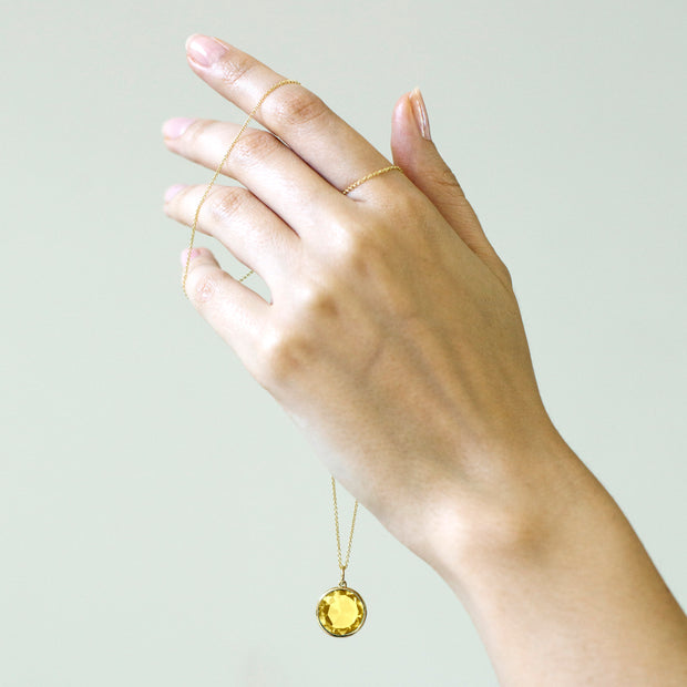 Lemon Quartz Round Rose Cut Pendant