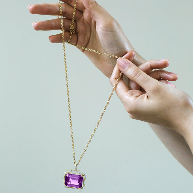 Amethyst Large Emerald Cut Pendant
