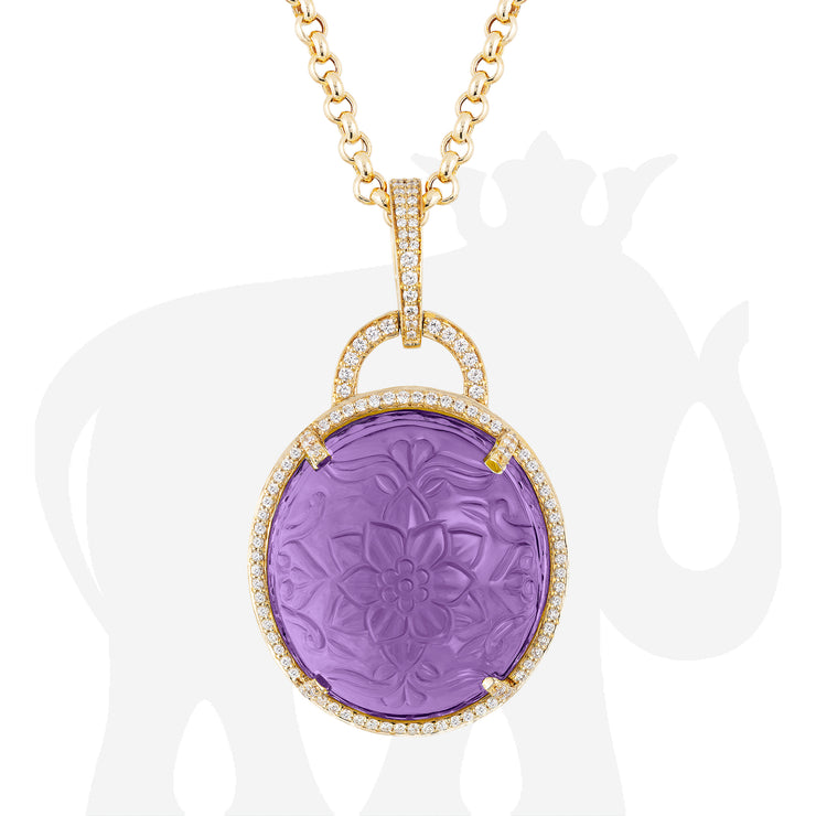 Amethyst Carved Pendant With Diamonds