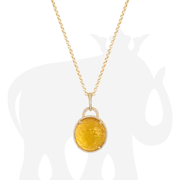 Citrine Carved Pendant With Diamonds