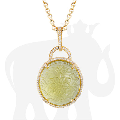 Lemon Quartz Carved Pendant With Diamonds