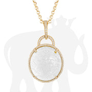 Moon Quartz Carved Pendant With Diamonds