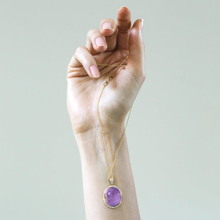Amethyst Oval Cabochon Pendant