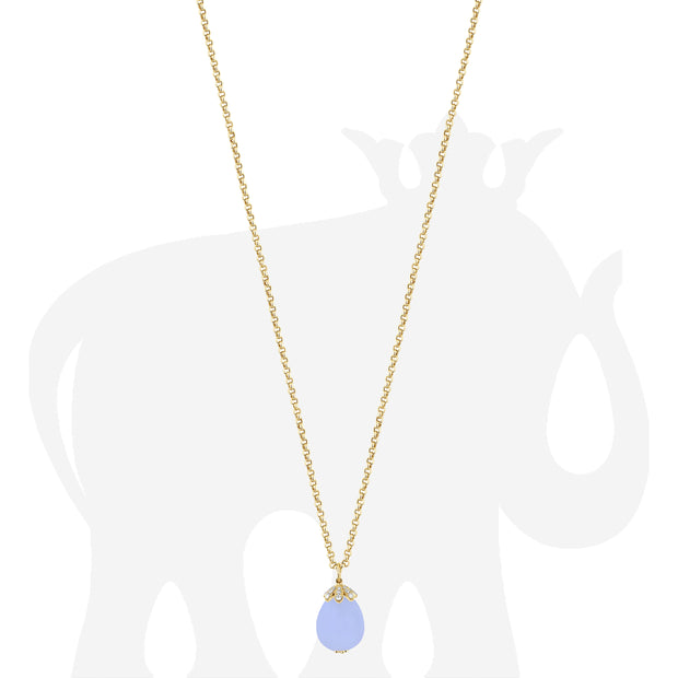 Large Blue Chalcedony Pendant With Diamonds