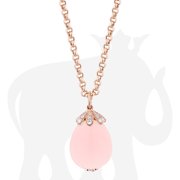 Large Rose Quartz Pendant With Diamonds