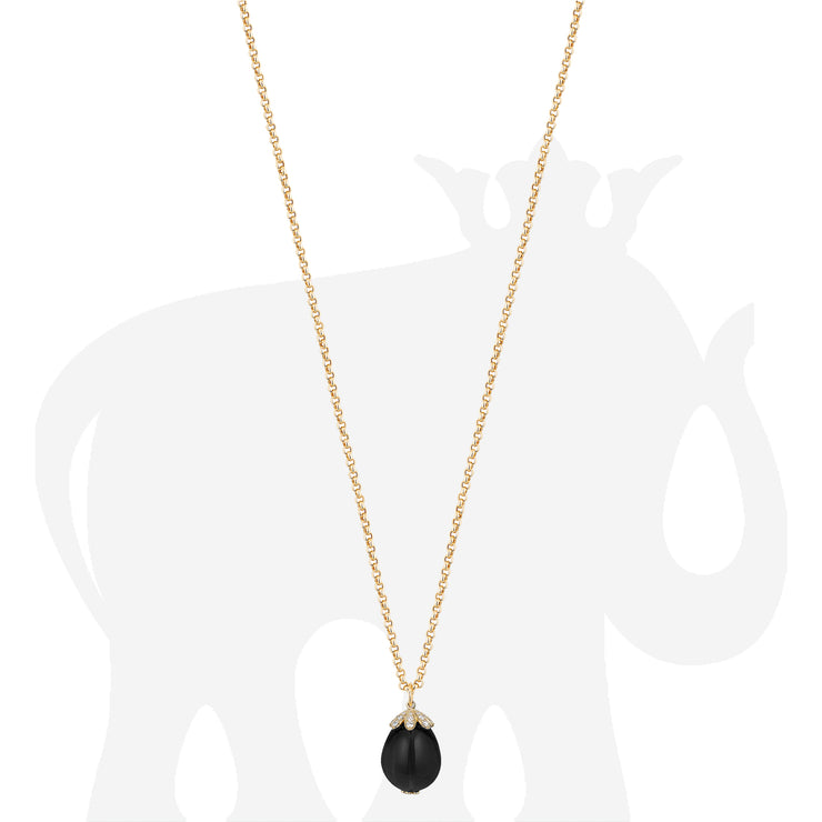 Large Black Spinel Pendant With Diamonds