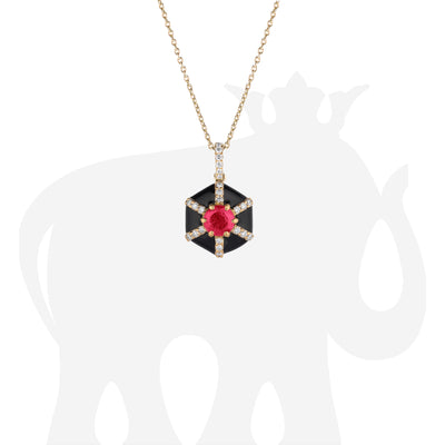 Hexagon Black Enamel Pendant with Ruby and Diamonds
