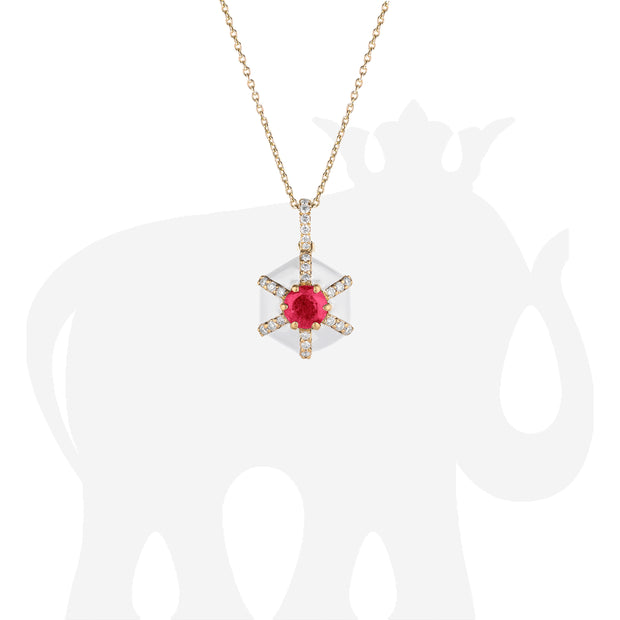 Hexagon White Enamel Pendant with Ruby and Diamonds