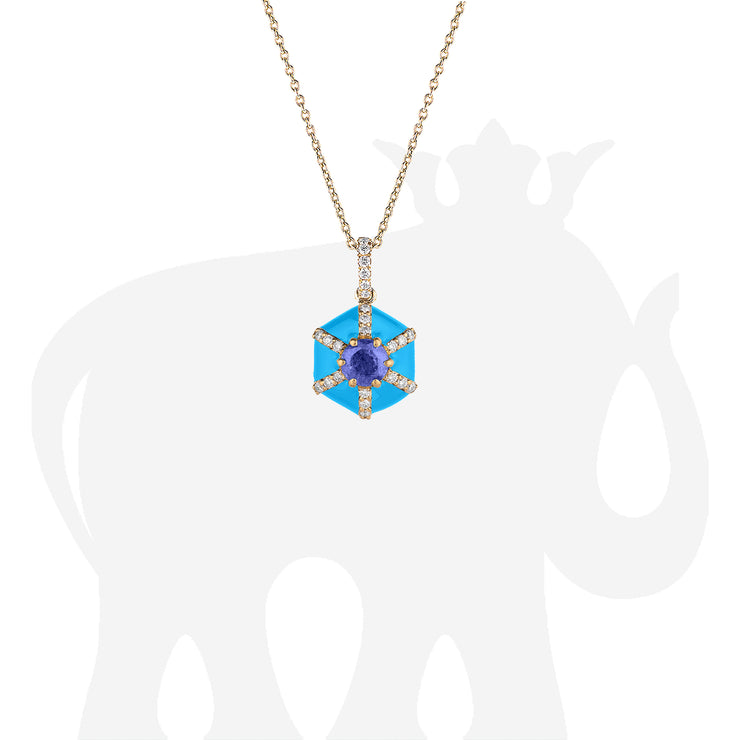Hexagon Turquoise Enamel Pendant with Sapphire and Diamond