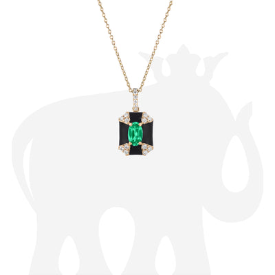 Octagon Black Enamel Pendant with Emerald and Diamonds