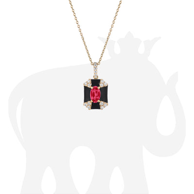 Octagon Black Enamel Pendant with Ruby and Diamonds