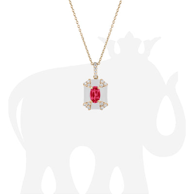 Octagon White Enamel Pendant with Ruby and Diamonds