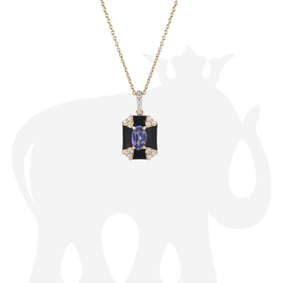 Octagon Black Enamel Pendant with Sapphire and Diamonds