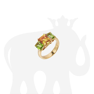 3 Stone Peridot and Citrine Emerald Cut Ring