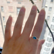 London Blue Topaz Faceted Oval Ring